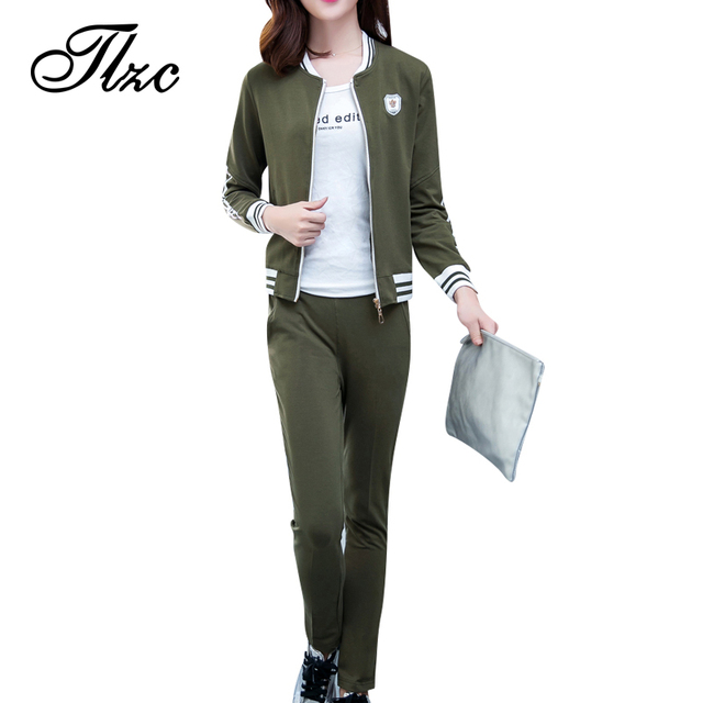 Tlzc lady zipper casacos + pants plus size m-4xl simples Mulheres de Design de Moda Pista Inverno Terno 2 Peças de Roupas Casuais conjunto
