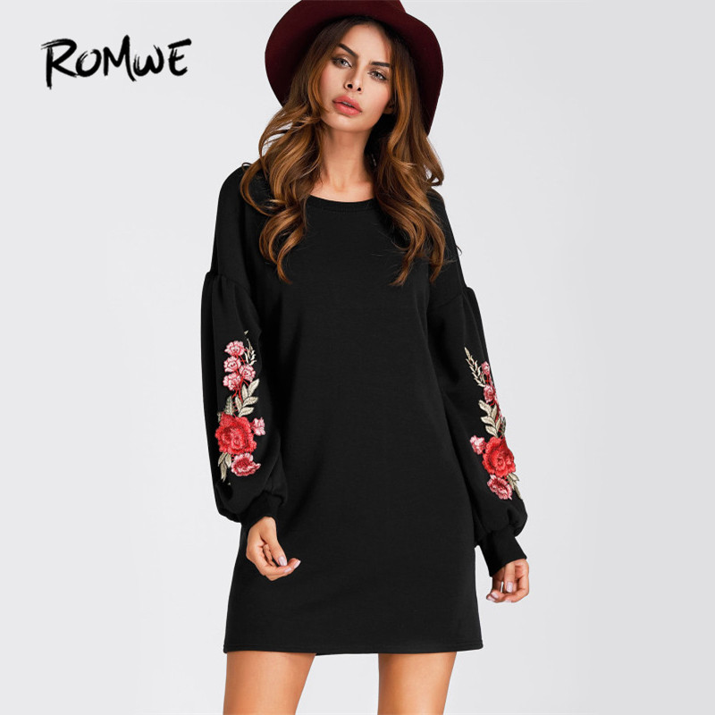 ROMWE Black Lantern Sleeve Embroidery Dress Women Rose Applique Vintage Dresses Fall 2017 Fashion Boho Elegant Mini Shift Dress