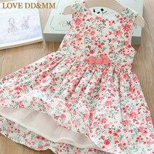 Милые платья для девочек DD& MM г. Новая весенняя детская одежда милый жилет без рукавов с цветочным рисунком и бантом для девочек платье принцессы