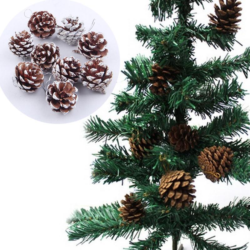 New 9X Christmas Pine Cones Baubles Santa Claus Xmas Tree Decorations Ornament Home Decor Wholesale Free