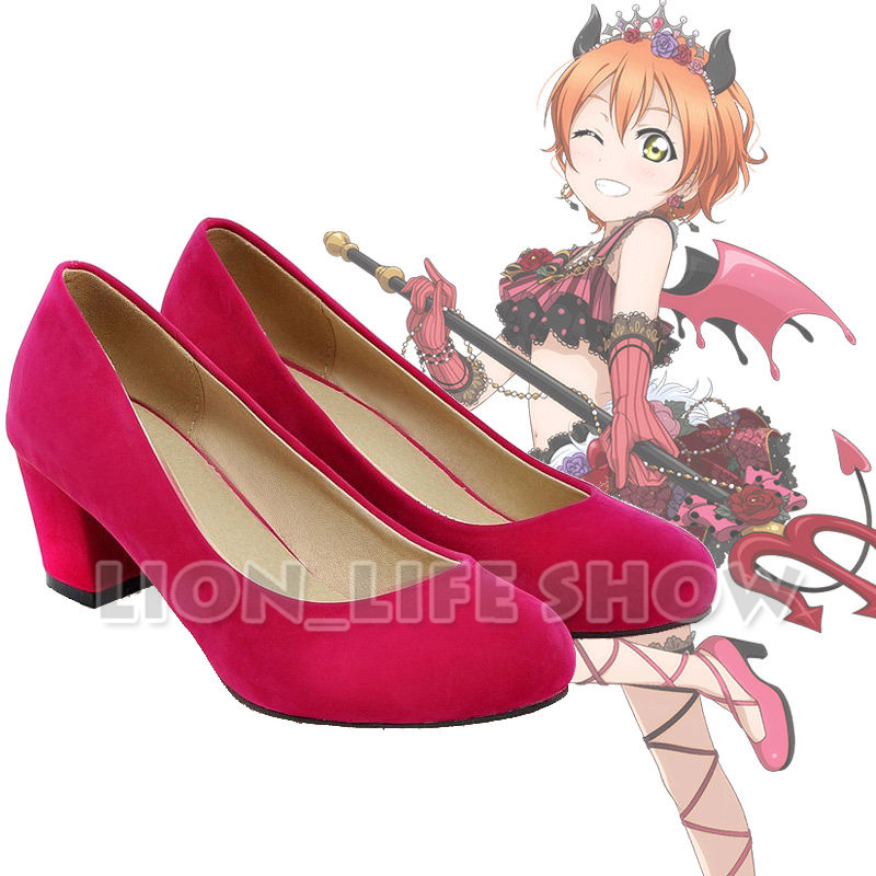 Lovelive Devil Idol love live Women High Block Heel Suede Round Cosplay Shoes
