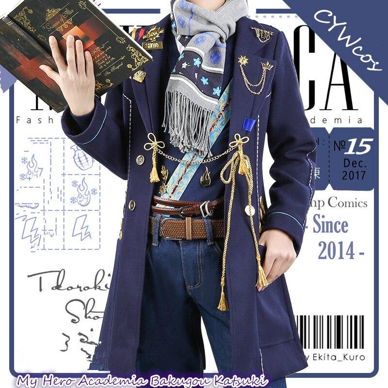 Japonais Anime Mon Héros Universités Todoroki Shoto Magazine Style Cosplay Costume Uniformes Costumes Manteau + Chemise + Pantalon + Écharpe + ceinture