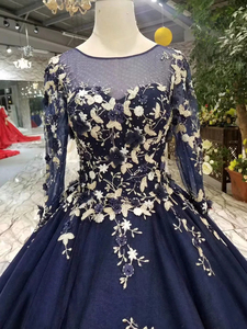 Image 5 - LSS382 navy blue evening dresses long o neck long sleeves ladies party dresses elegant women occasion dress 2020 free shipping