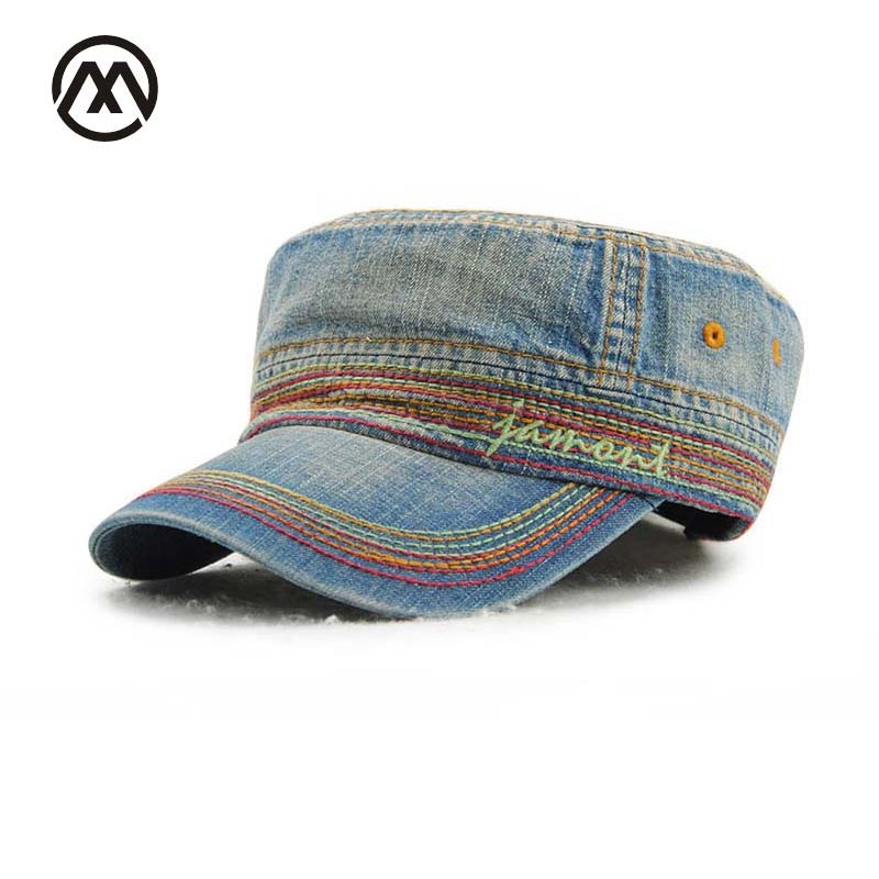 Denim Military Cap Flat Top Hat For Men Women Outdoor Casual Gorra Militar Unisex Cotton Casquette Militaire Military Hats Bone