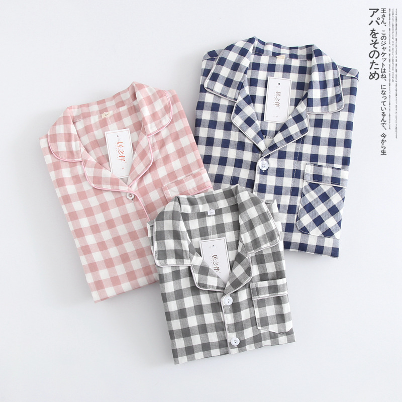 Cotton Long Sleeve Plaid Pajamas Women Men SLeepwear Children Homewear Family Parent-Child Clothing Nightwear Long Pants