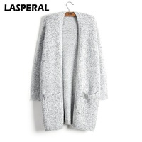 LASPERAL Knitted Sweater Women Fashion Casual Long Sleeve Grey Cardigan Coat Female Autumn Winter Plus Size