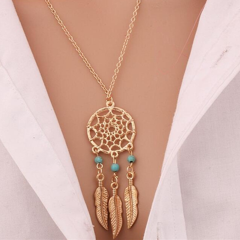 product 2016 best deal fashion women retro brush feather necklace jewelry Bohemia dreamcatcher pendant chain necklace gift