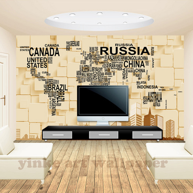 D Wallpaper For Walls Custom Wall Mural Non Woven Wall Paper D - World map wallpaper for home