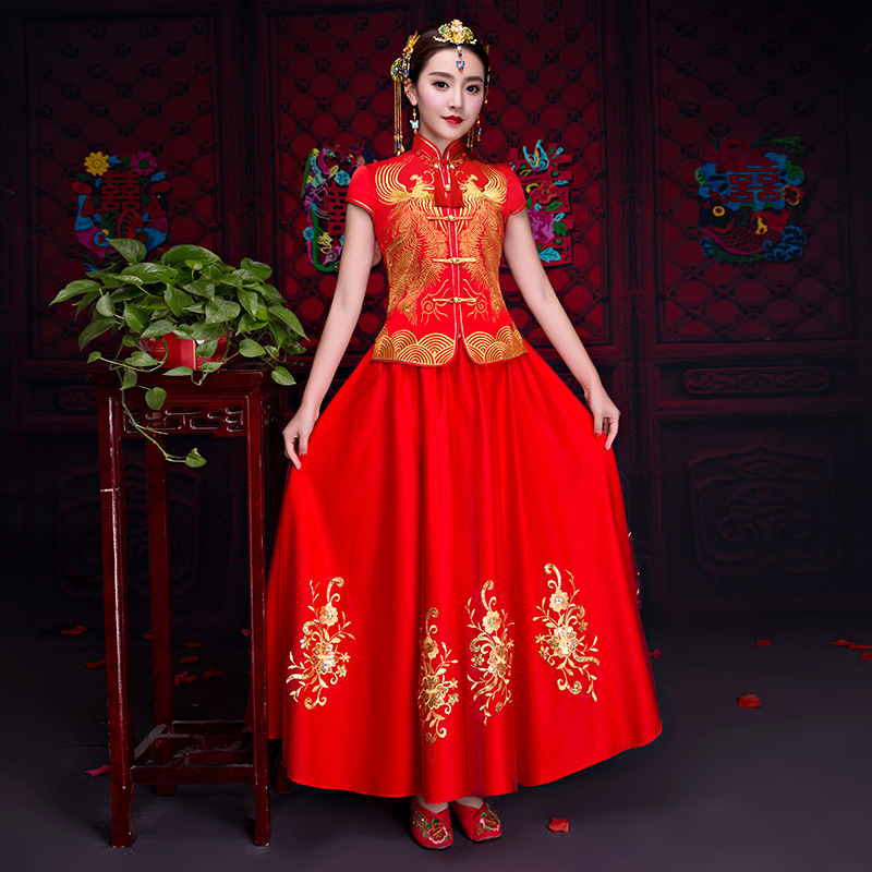 Women Red Traditional Gown Bride Chinese Wedding Dress Vintage ...