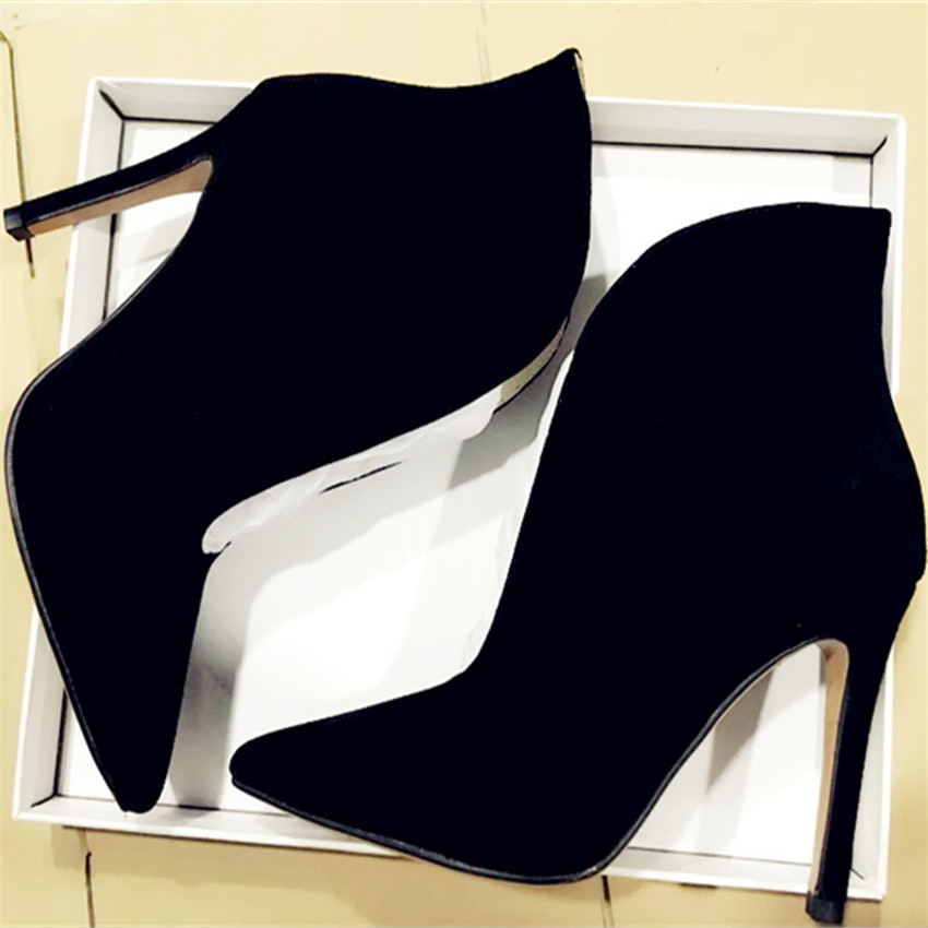 Black Suede Women Pointed Toe Boots Deep V Front Ladies High Heels Women Pumps Slip On