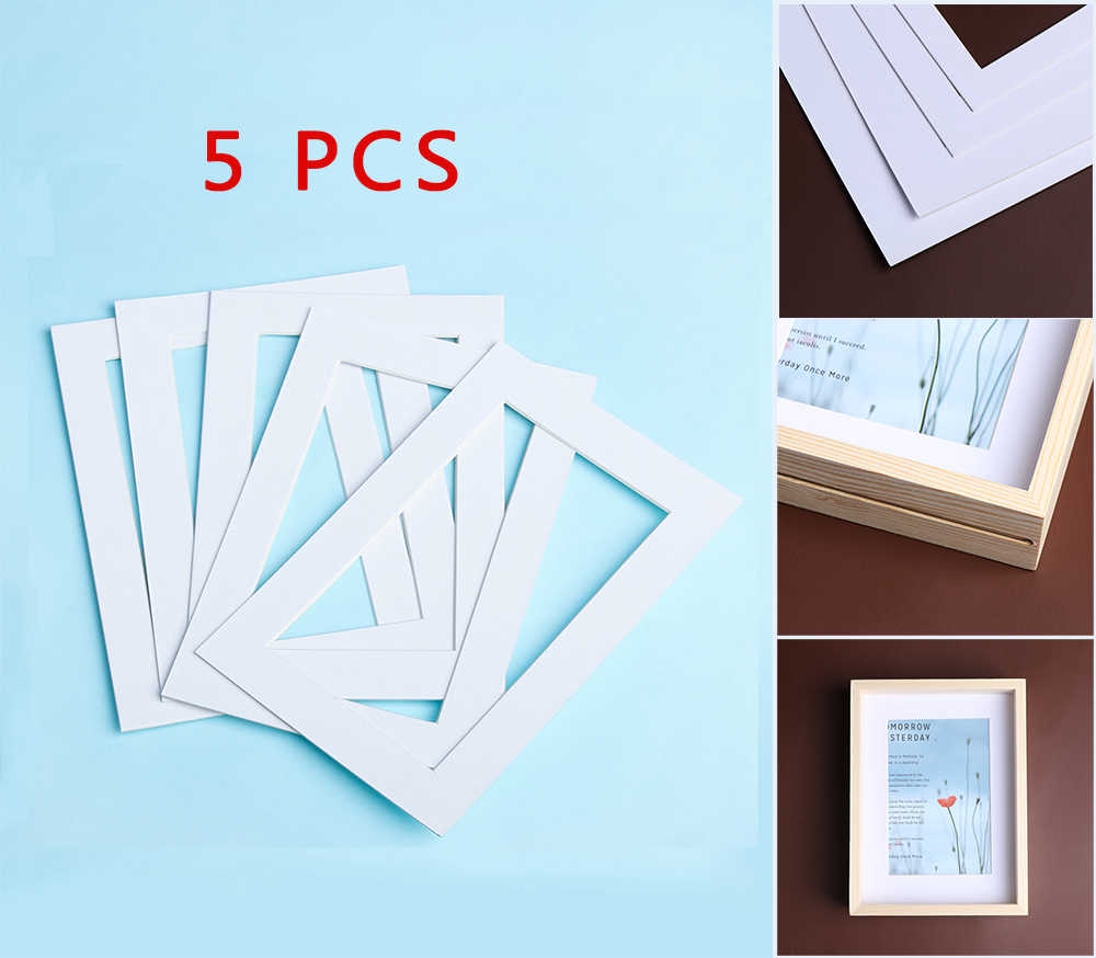 5PCS White Photo Mats Simple and Pure Rectangle Paper Mounts Unique Textured Surface For 6/7/8/10in Picture Frames Passe Partout