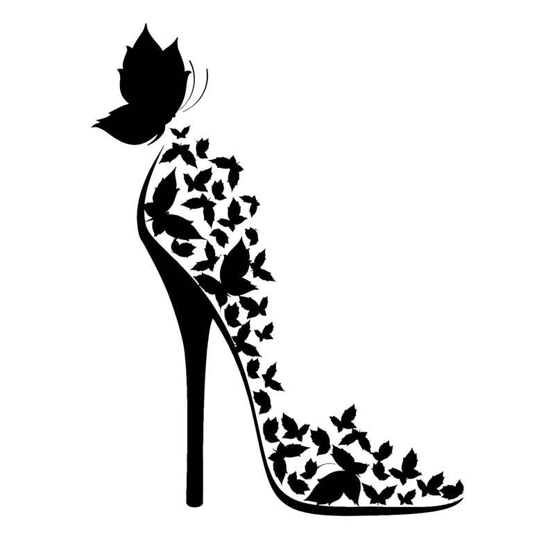 This fun butterfly and flower high heel birthday card will