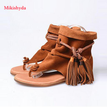 Free Fringed 2016 New Arrival Gladiator Cross Tie Women Flats Genuine Leather Women Sandals Boots Thong Celebrity Shoes Woman стоимость