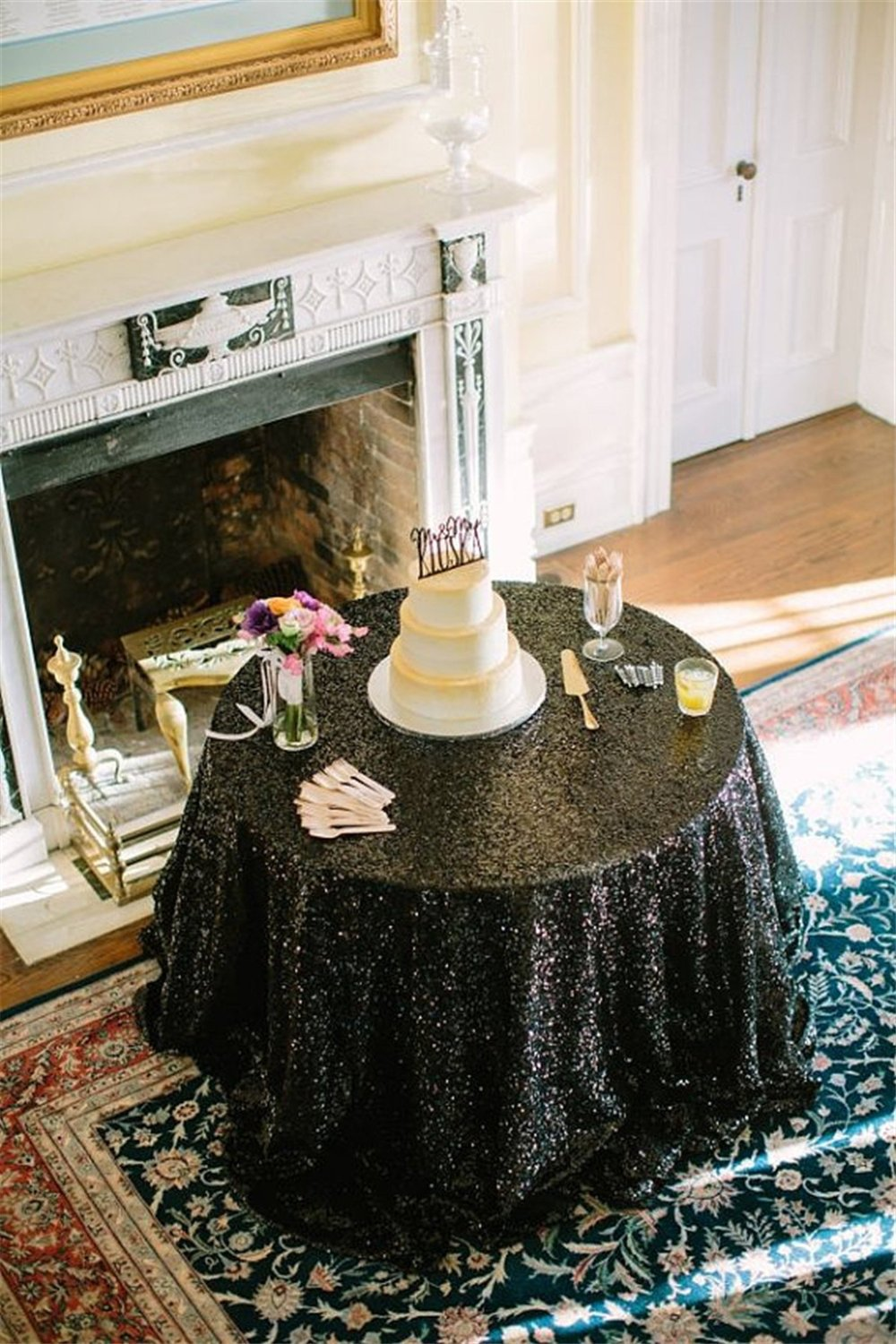 """High-end Noble Shiny 90"""" Round Black Sequin Table Cloth For Wedding/Event/Party/Banquet (black)-r"""