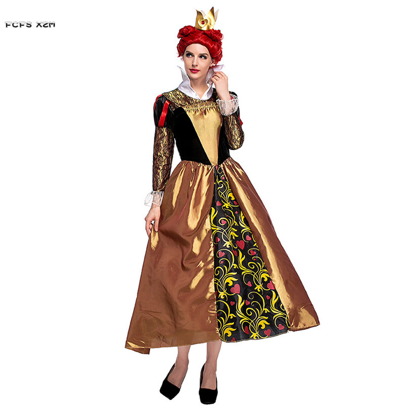 Woman Alice in Wonderland Cosplays Female Halloween The Queen of Hearts Costumes Carnival Purim Masquerade Christmas party dress