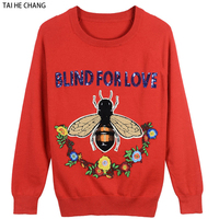 Women Floral Bee Letters Sweaters 2018 Fashion Designer Autumn and Winter Casual Pullovers knitted Tops Christmas