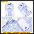 Бесплатная доставка 2014 Новый приход распространение воротник 38-44 полосатый Без железа бизнес французский манжеты рубашки для мужчин с запонки QR-1211