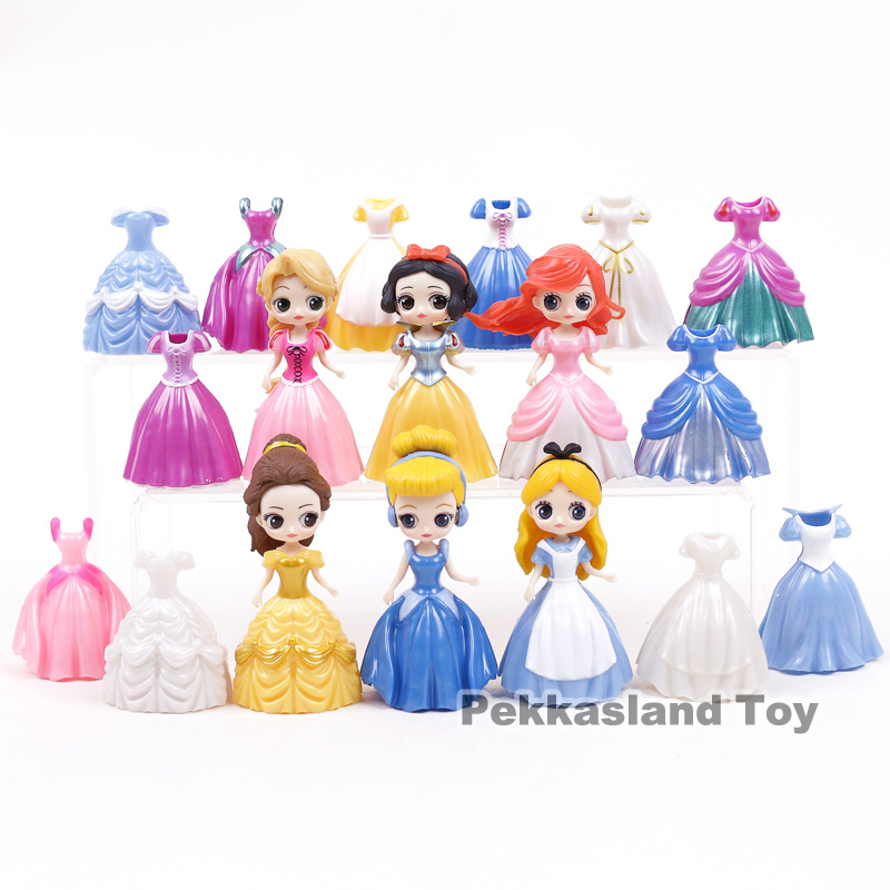 Princess Cinderella Belle Alice Snow White Ariel Rapunzel PVC Action Figures Toys 6 Princesses + 12 Dresses = 18pcs/setPrincess Cinderella Belle Alice Snow White Ariel Rapunzel PVC Action Figures Toys 6 Princesses + 12 Dresses = 18pcs/set