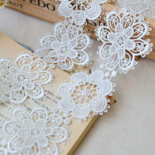 Retai!!5 yards/lot Width 5cm Novelty DIY lace Fabric milk White Water soluble lace /clothing materials lace DIY Accessories16591