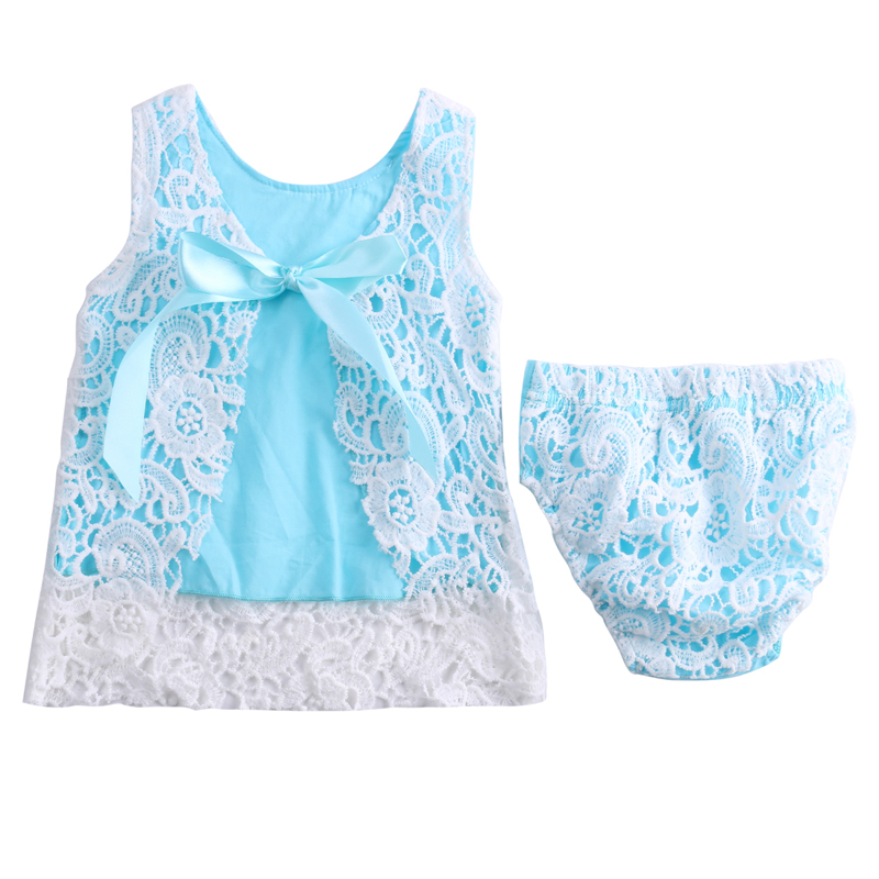 Lovely Newborn Baby Girls Clothes Sunsuit Lace Swing Tops Dress Briefs 2pcs Outfit Set