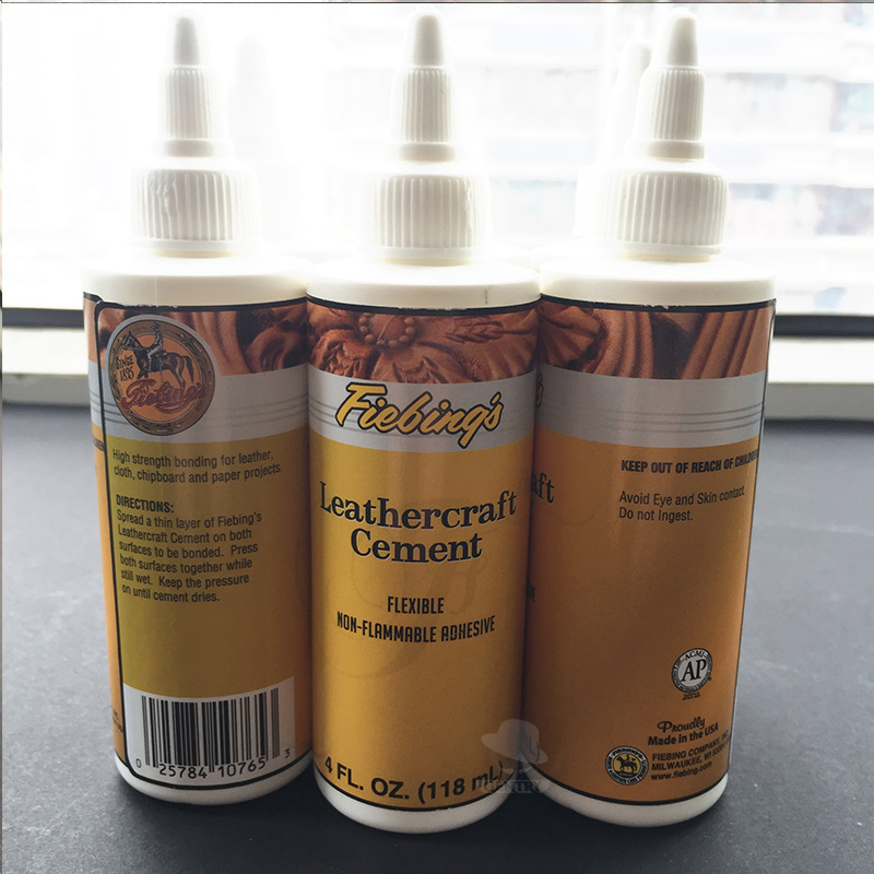 American Import Fiebing Leathercraft Cement Leather Glue Fast Drying White Latex Non Flammable Toxic 118ml/bottle