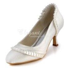 Wholesale & Retail Shoes EL-041 Ivory,White Almond Toe Ruffles 2.5″ Thin Heels Satin Wedding Bridal Evening Fashion Pumps