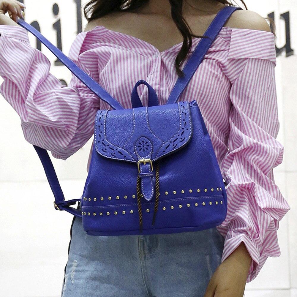 Fashion Women Backpack Vintage Hollow Out Travel Rucksack Drawstring School Bag Popular JUNE2