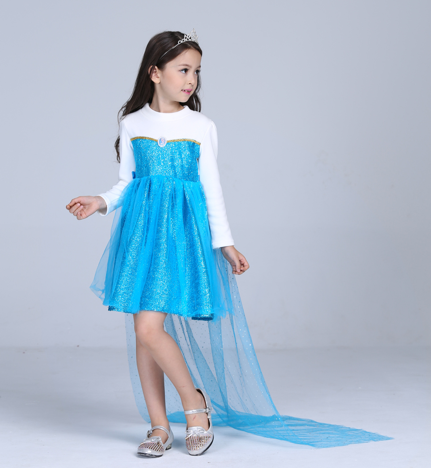 Lovely Cartoon Halloween Costume Blue Tutu Tulle Detachable Caped Princess Elsa Kids Party Dress Sleeves for Toddler Birthday