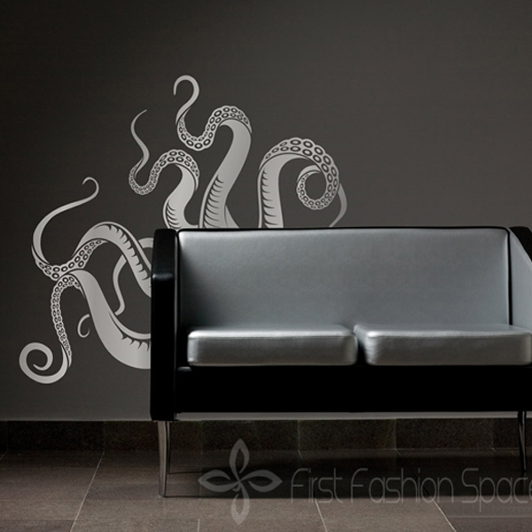 2017 New Removable Octopus Tentacles Vinyl Wall Decals Stickers Wall Sticker Decoration Living Room Bathroom Home