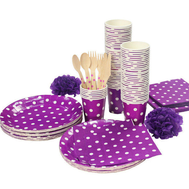 Purple red green pink blue Polka Dots Party Tableware Birthday Party paper plate cups napkins paper  sc 1 st  AliExpress.com & Purple red green pink blue Polka Dots Party Tableware Birthday Party ...