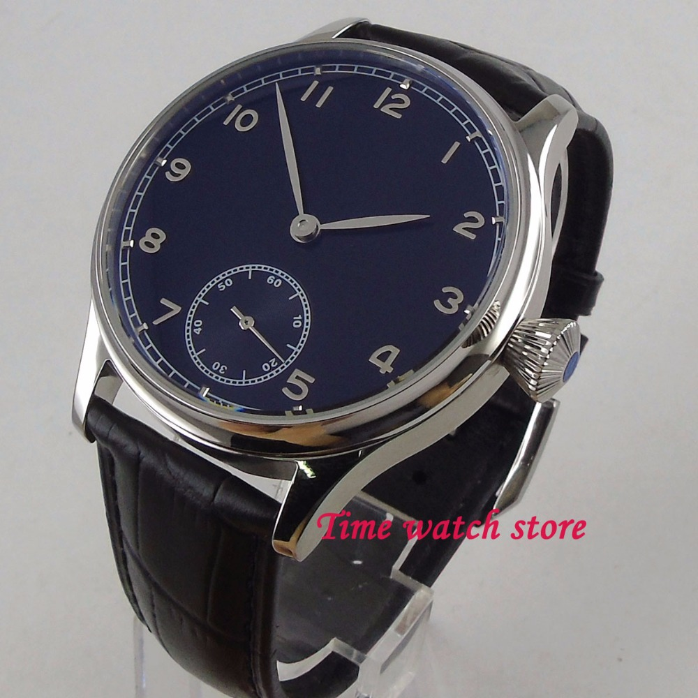 44mm Corgeut black sterile dial small second hand polished SS case Asian 6498 Mechanical Hand Winding movement men's watch Cor3 цена и фото