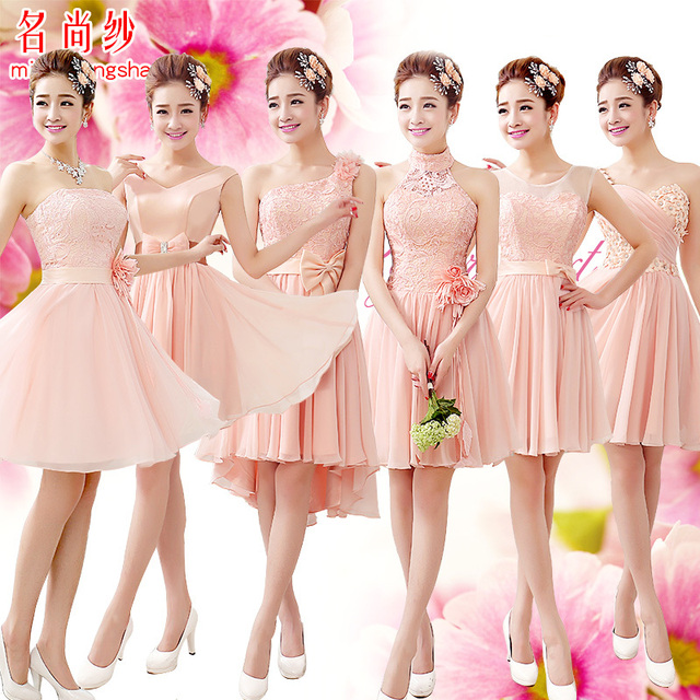 Lf 5546 Silk Chiffon Sleeveless Lace Sisters Bridesmaid Dress Sweetheart Short Knee Length A Line