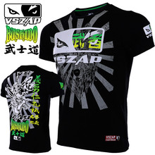 VSZAP Japan Bushido T-shirts Men UFC Fitness Sanda Muay Thai Tee Shirt Homme Sporting Workout MMA Fight Martial Arts Fightwear