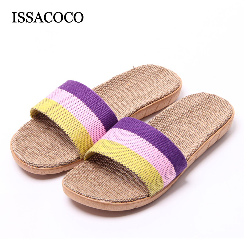 New Arrival Women Summer Linen Silppers Breathable Non-slip Fashion Indoor Slippers Women Hemp Basic Slides Slippers Hot coolsa women s summer striped linen slippers women hemp slides women s flax slippers breathable non slip fashion indoor slippers