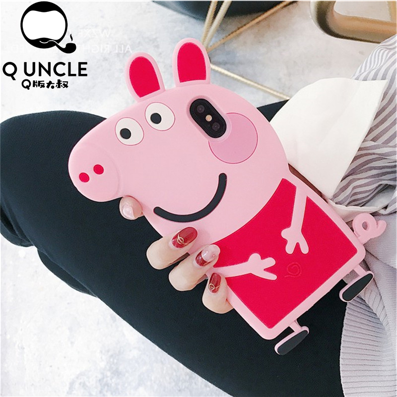 Q UNCLE For Samsung S7 S7 Edge 3D Cartoon Pink Pig Silicone