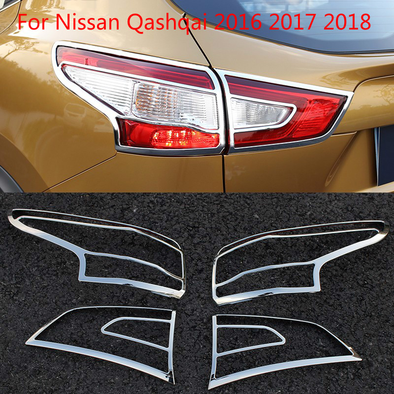 Pour Nissan Qashqai 2016 2017 2018 ABS Chrome avant arrière coffre phare feu arrière couvercle de lampe garniture style garniture encadrement moulage