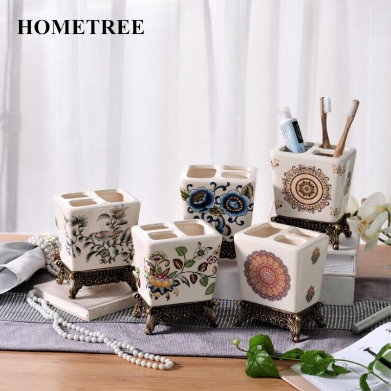 HOMETREE 2017 Hot Sale Fine European Ceramic Bathroom Wash Toothbrush Holder Creative Multi Functional Toothbrush Holder H119
