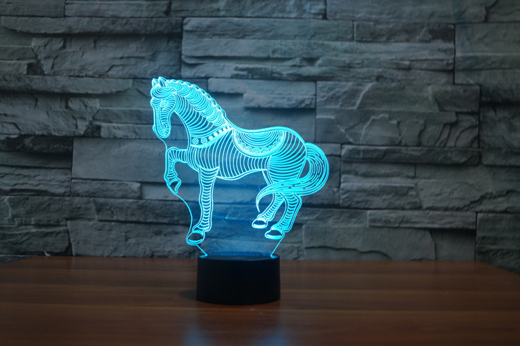 7 Colors Cartoon Small Horse Racing Toy Action Figures Starfleet 3D Table Lamp Led Toys  ...
