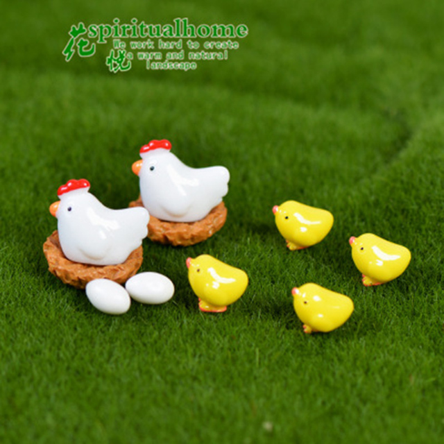 ZOCDOU 10 Pieces Hen Chicken Chick Egg Nest Small Pasture Statue Figurine Micro Crafts Ornament Miniatures DIY Home Garden Decor 5