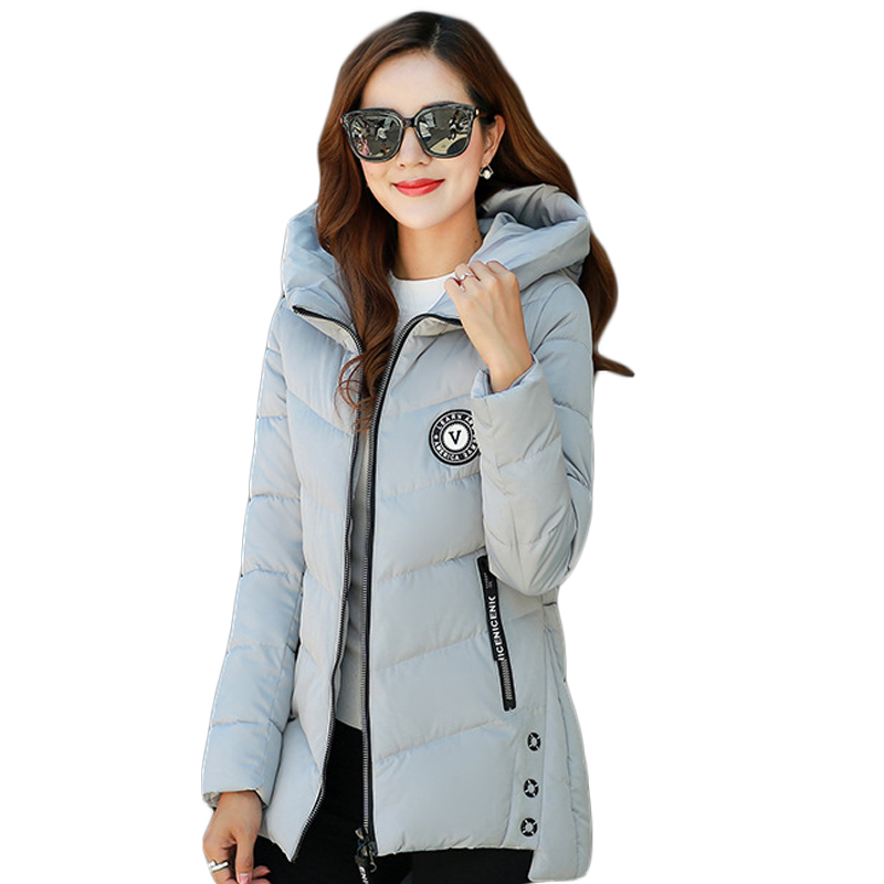 Winter Jacket Women 2017 Fashion Female Medium-long Slim Cotton-padded Hooded Coat Parkas Ladies Wadded Jacket Outwear CM1778 new 2017 winter hooded jacket women cotton wadded overcoat medium long slim casual fashion parkas female denim blue coats cm1509