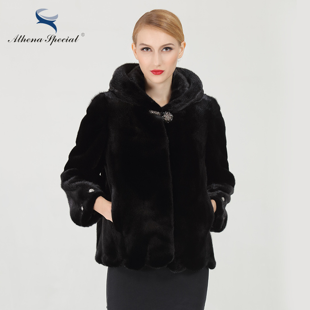 Athena Special 2016 Fashion Short Type Women Real Mink Coats Black Color Genuine Mink Fur Coat Hooded Free Shipping