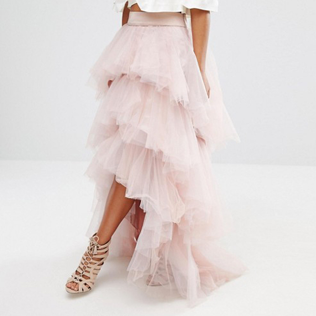 fe6428a3bf 2017 Chic Fashion Tiered 3 Layers Tulle Skirt High Low Women Formal Party  Skirt Long Tulle Skirts Ruffles Tutu Skirt Custom Made