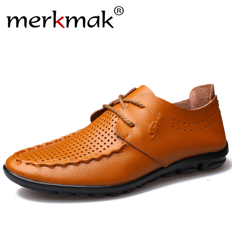 Merkmak Brand Fashion Summer Soft Casual Shoes Moccasins Men Loafers High Quality Genuine Leather Shoes Men Flats Driving Shoes 2017 new brand breathable men s casual car driving shoes men loafers high quality genuine leather shoes soft moccasins flats