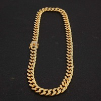 Hip hop Mens Miami Curb Cuban Chain Necklaces Bling Crystal With Luxury Box Rhinestone Clasp Lock Necklace Drop Shipping
