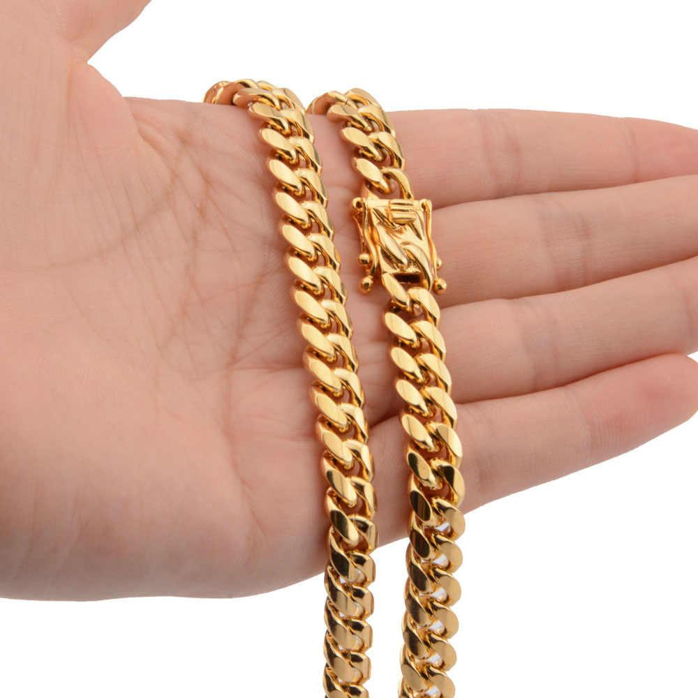 Nowości przyjazd 8/10/12/14/16/18mm Miami Curb kubański łańcuch naszyjniki odlewania smok blokada zapięcie mężczyzna Rock Dj biżuteria