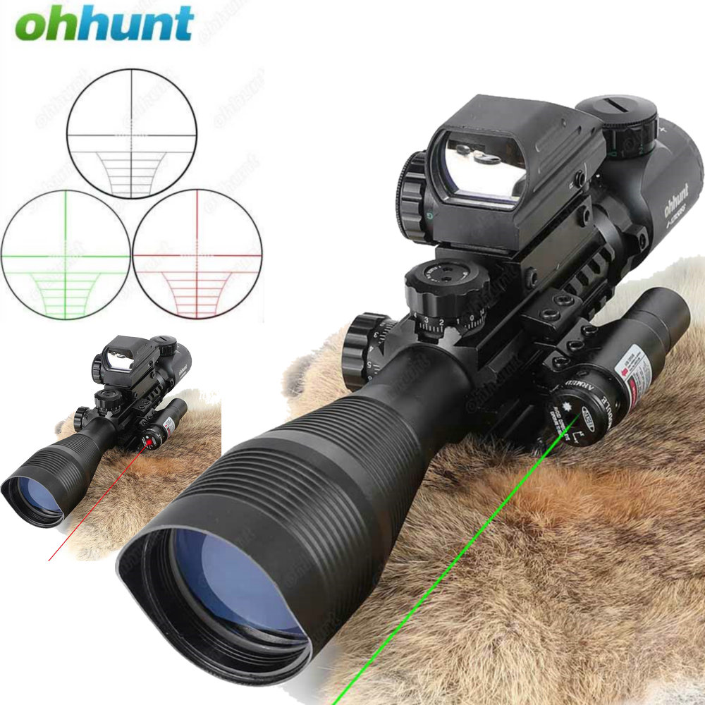 все цены на Ohhunt 4-12X50 Hunting Combo Riflescope Optics Sights Red Green Laser and Red Dot Sight with Picatinny Rail Mount Rifle Scope