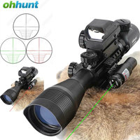 Ohhunt 4 12X50 Hunting Combo Riflescope Optics Sights Red Green Laser and Red Dot Sight with Picatinny Rail Mount Rifle Scope