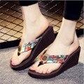 Богемный Стиль Тонг Сандалии На Высоком Каблуке Клинья Платформы Обувь Против Скольжения Моды Пляжные Сандалии Willow Valley