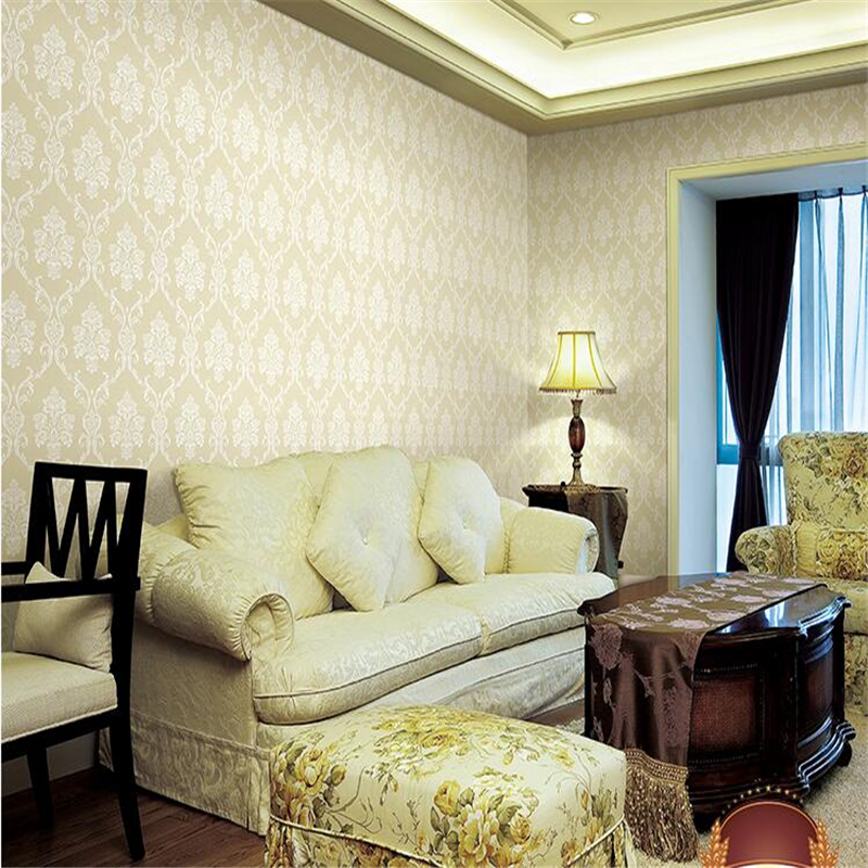 beibehang  Papel de parede European 3D Damascus Sprinkle Gold Wallpaper Non-woven Foam Bedroom Living Room TV Background Seamles