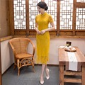 Shanghai Story Short Sleeve national trend dresses chinese style dress lace cheongsam Long Qipao chinese traditional dresses